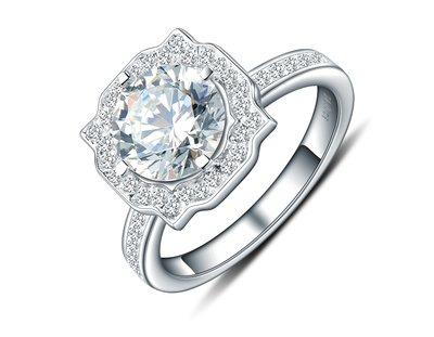 歐美專櫃純銀戒指 高檔微鑲飾品 2克拉...