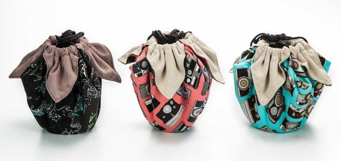呈現攝影-手作 超細纖維包布束口袋 大號 40x40cm 大開口 保護袋 鏡頭袋 清潔布 相機袋 單眼/微單