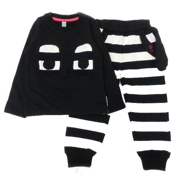 【班比納精品童裝】狗耳朵條紋褲套-黑【F5603310】