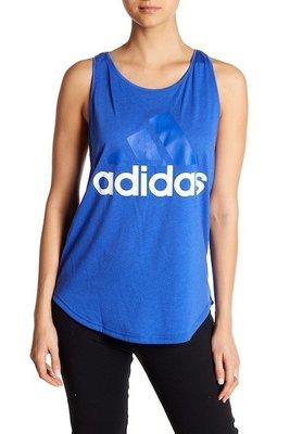 玉米潮流本舖 ADIDAS CF8814  女款 基本款 LOGO  運動背心 挖背 藍色 藍LOGO 白字
