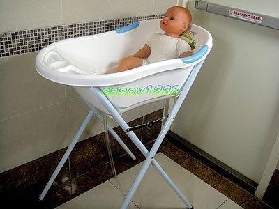 《凱西寶貝》vivibaby 超優質( 浴盆架+浴盆 )( 藍白色 ) 輕鬆安全又方便