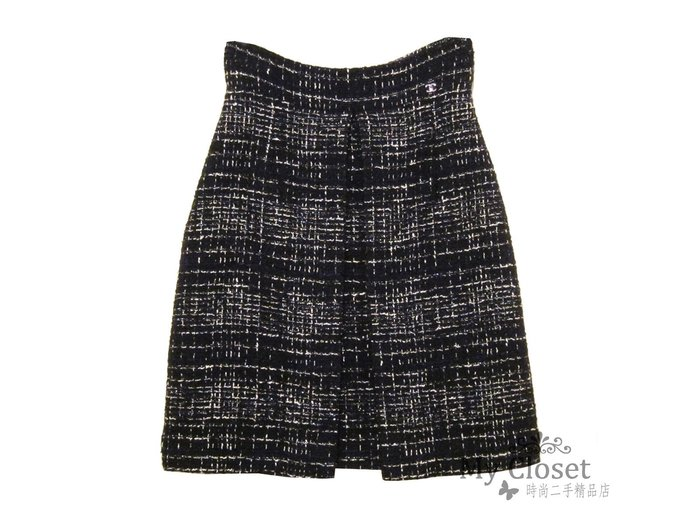 My Closet 二手名牌 CHANEL 2010 經典黑白色系雙層A字軟呢裙
