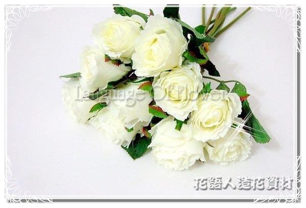 ◎花語人造花資材◎*麗質玫瑰捧花束-米白*婚禮佈置~櫥窗~新娘捧花~攝影