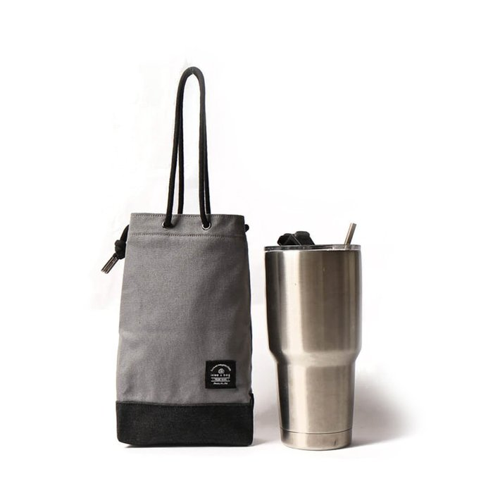 點子包【icleaXbag】飲料提袋 簡約飲料隨行袋 手搖 小物袋 小酒袋 無塑 可刻字 水泥灰 DG31