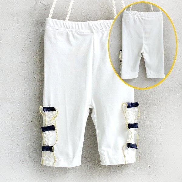 【班比納精品童裝】側蝴蝶結滚金邊蕾絲內搭褲-白【BM50422028】