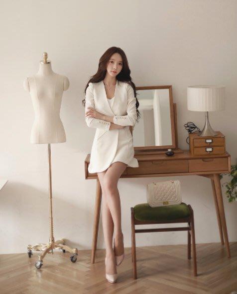 GTFR免運 2018春裝 白色套裝❤ 極度顯瘦 上班族女裝 OL性感名媛 氣質滿分 西裝 連身裙套裝 2018新款