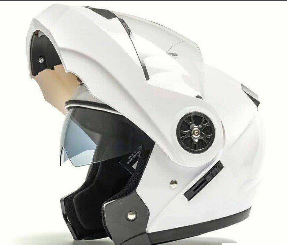 AD双鏡片防霧安全帽,半覆式個性酷揭安全帽(純白)