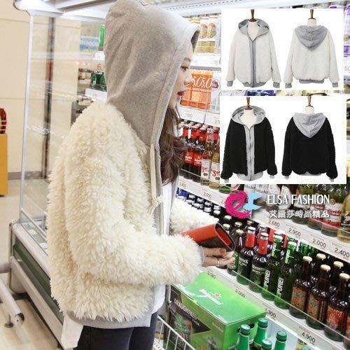羊毛外套 保暖加厚毛毛假兩件連帽外套 艾爾莎【TGK0135】