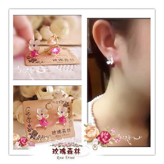 玫瑰森林-- ☆°* 美麗嚴選~白色霧面小花朵 桃粉色水晶方塊  無耳洞耳夾式耳環(特價)