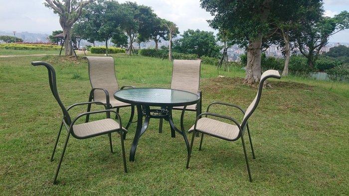 [兄弟牌戶外休閒傢俱]鋁合金紗網椅~105cm鋁製庭院桌+鋁製高背紗網椅~庭園休閒傢俱!!