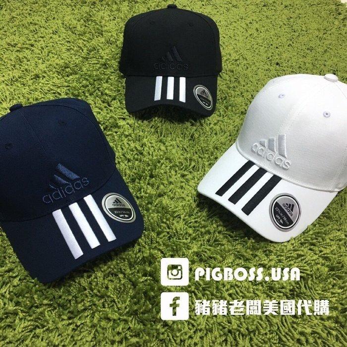 【豬豬老闆】ADIDAS CAP 可調式運動帽子 愛迪達老帽 電繡刺繡三條線 黑 白 深藍