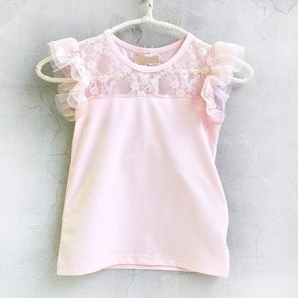 【班比納精品童裝】前縷空花朵細紗背心上衣-粉【BO150709044】