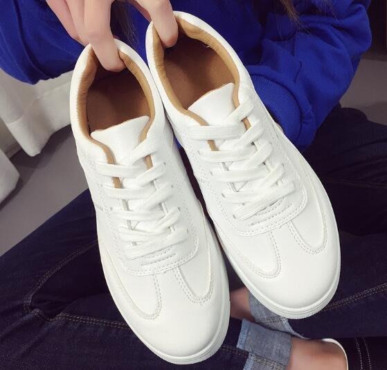 韓版皮面小白鞋J02女系帶厚底學生休閒鞋單鞋子 帆布鞋 休閒鞋 平底鞋 3674