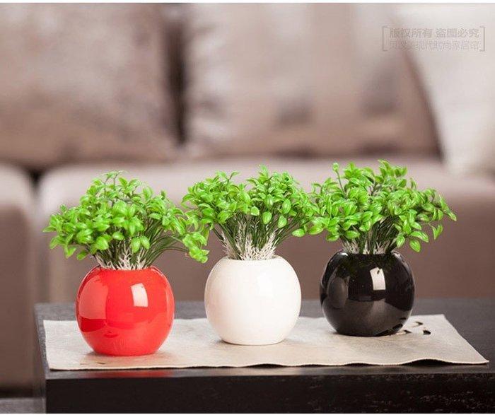 客廳辦公桌居家裝飾工藝品陶瓷器創意擺件花盆圆球小花瓶裝飾品/工藝品/擺設/擺件