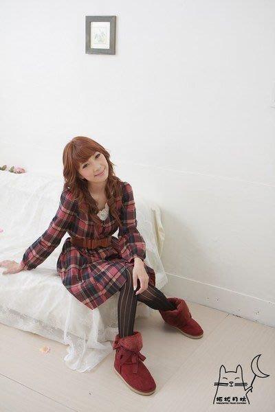 【拓拔月坊】日本製 MORE 英國風 針織 洞洞直紋 褲襪 秋冬款~現貨!