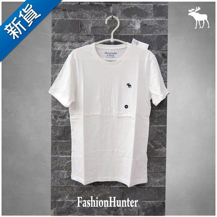 新貨【FH.cc】A&F 素t 圓領素面 短袖T恤 白 刺繡麋鹿 HCO