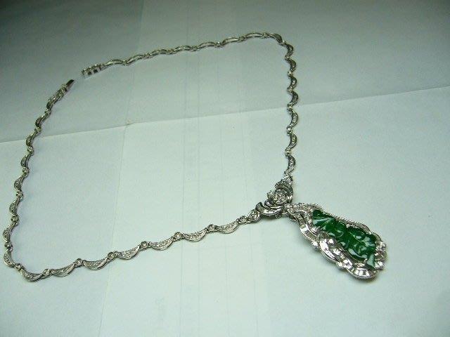 [吉宏精品交流中心]天然翡翠 天然鑽石 白K金 造型 墬子 項鍊