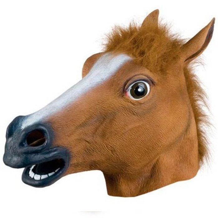 現貨聖誕節馬頭面具 動物頭套馬面具天然環保乳膠面具舞會COS魔鬼節 鬼節馬頭面具化妝舞酒吧惡搞化妝舞派對遊行運動會尾牙