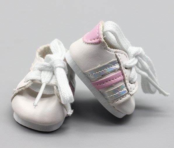 【小黑妞】小美樂迪士尼娃娃可穿鞋子-小美樂不可穿襪子-經典三條線球鞋(不含娃娃)....【現貨-粉銀條紋】