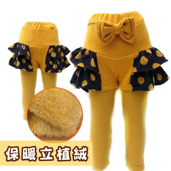 【班比納精品童裝】毛毯毛點點側裙邊褲-芥黃【BB141119016】