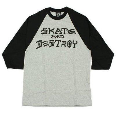 【THRASHER】SKATE & DESTROY 七分袖 (黑/灰)