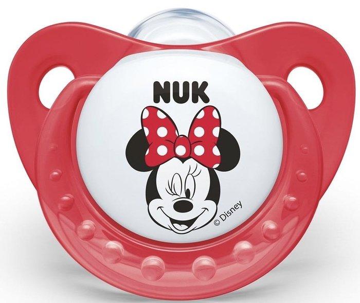 NUK 米奇安睡型矽膠安撫奶嘴 (帶蓋)1入~3色 初生型(0~6m  一般型 6m