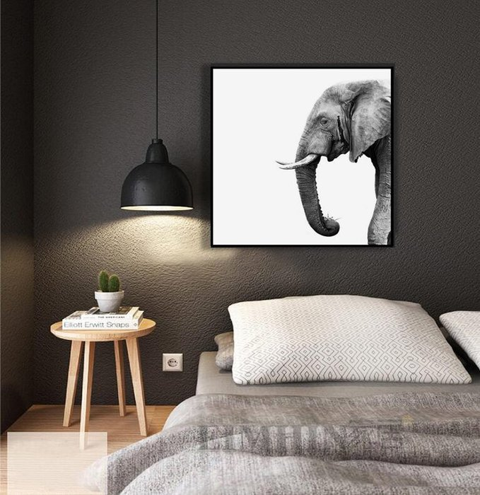北歐現代簡約客廳背景牆裝飾畫臥室床頭餐廳掛畫玄關牆畫黑白大象(3款可選)