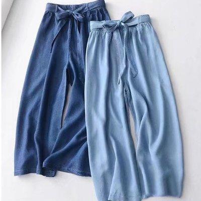 西班牙品牌~天絲牛仔繫帶時尚八分寬褲 2101 米蘭風情