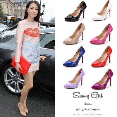 ***Sunny Girl*** [WH0181]十月韩国连线东大门女孩OL必备高跟防水台性感夜站细跟漆皮婚礼高跟鞋
