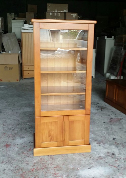 美生活館--鄉村家具訂製 紐松全原木柚木色 單玻雙門展示櫃 收納櫃 書櫃 玻璃櫃 高低櫃 也可修改尺寸與顏色再報價