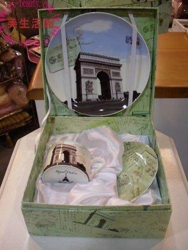 美生活館---全新進口經典巴黎景點骨瓷杯 咖啡杯三件組禮盒--凱旋門