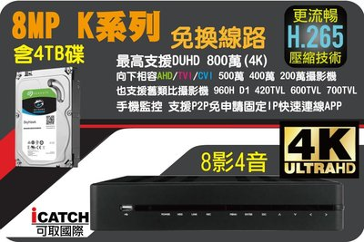 KMH系列 2018年最新 六合一 支援 H265壓縮 800萬超清 4K 可取 8路1音網路監控主機 含4TB硬碟