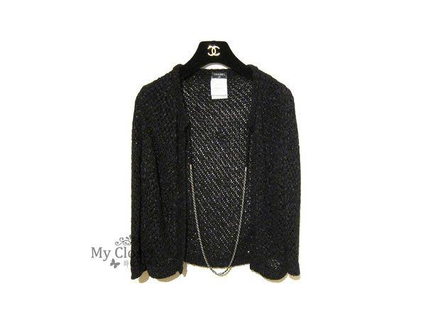 My Closet 二手名牌 Chanel 2011 經典黑色編織七分袖外套