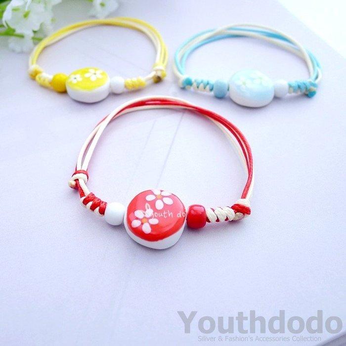 手工編織圓型陶瓷串珠彩繪小花可調整大小手鍊手環(SMH-137)~*╮柚子多多╭*