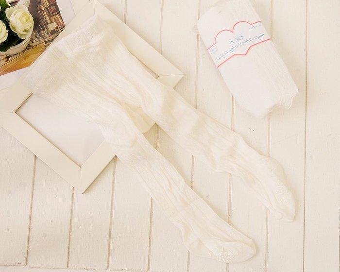 品牌PIACE超彈女寶寶女童純白羅紋花紋洋裝 小禮服內搭止滑褲襪 兒童襪