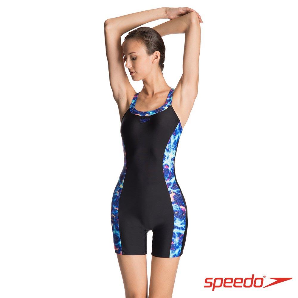 ~BB泳裝~SPEEDO 2018 Printed Splice 女人運動連身平口泳裝 連身四角泳裝 黑藍