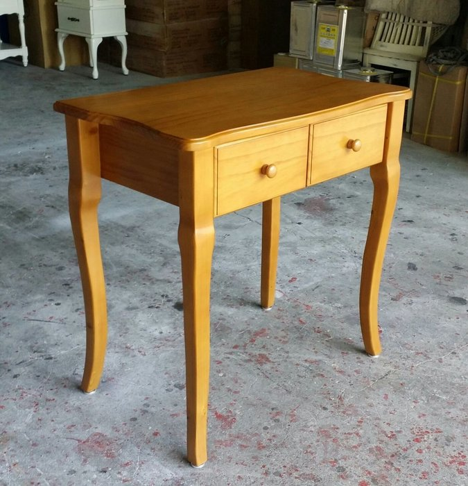 美生活館-- 鄉村家具訂製 全原木家具--訂製 雙抽 柚木色書桌寫字桌工作桌玄關桌化妝桌可依尺寸顏色再報價 店面民宿居家