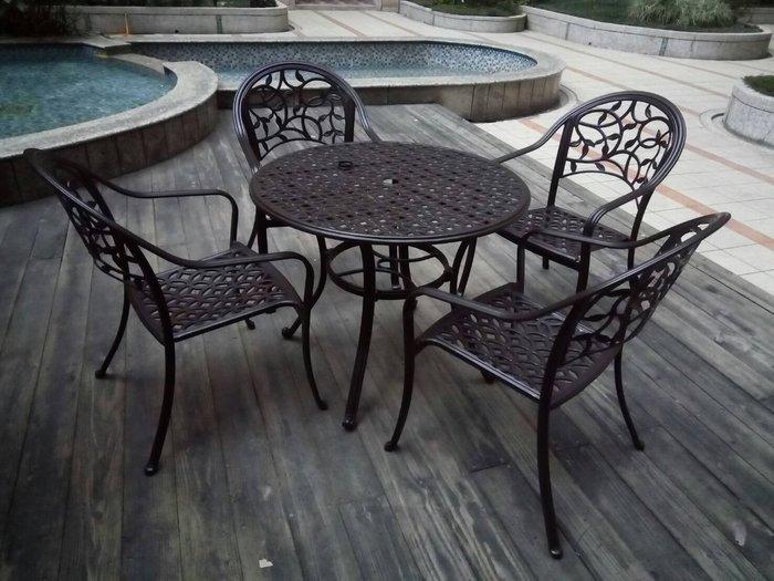 [兄弟牌休閒傢俱]鋁合金90cm圓型庭院1桌+4張鋁合金椅組~餐椅免擔心生鏽材質堅固耐用,古銅色美觀大方