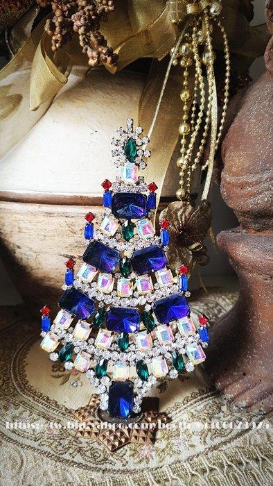 妍媽咪ㄉ西洋古董 ~BEAUTIFUL 捷克水晶 寶藍AB方鑽大型聖誕樹擺飾 ~Vintage ~具鋼印