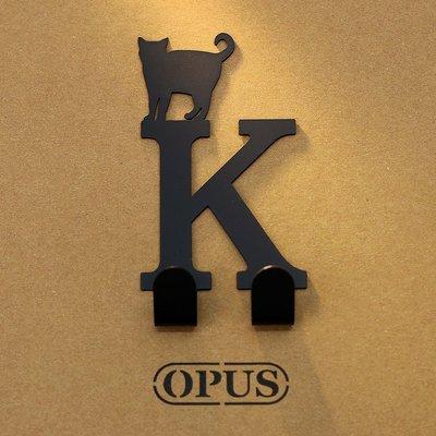 當貓咪遇上字母K 《經典黑》2017聖誕禮物 壁飾掛勾 造型無痕掛鉤 交換禮【OPUS東齊金工】HO-ca10-K(B)