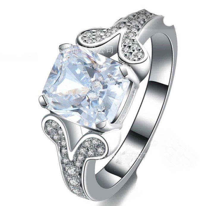 結婚求婚戒指女鑽石 2克拉犒賞自己 精工微鑲極光仿真鑽戒指精工爪鑲單碳原子鑽戒 純銀鍍鉑金指環  FOREVER鑽寶