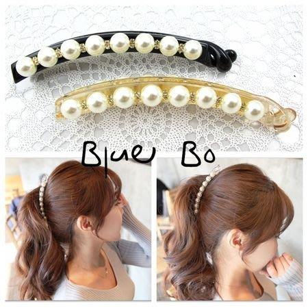~*BlueBo*~Korea 韓國飾品 質感氣質簡約珍珠帶鑽加長香蕉夾   馬尾夾/髮飾 髮夾