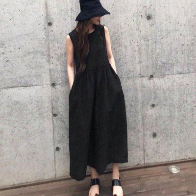 ☆Bubble Lady ☆ 韓【K0002】簡約 棉麻 連身 九分 寬褲裙  韓妮  可樂果