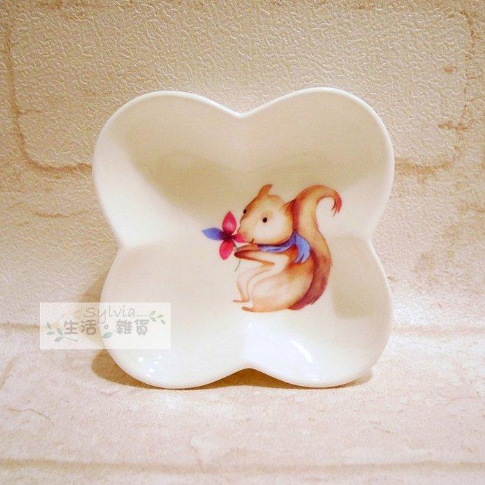 ❤生活。雜貨❤北歐風格 森林系 可愛動物 醬油碟 調味料碟 四葉幸運草 骨瓷 zakka 陶瓷 小松鼠 現貨