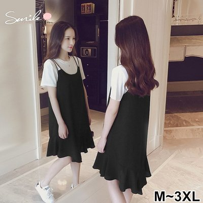 【V2461】SMILE-小清新‧圓領短袖上衣吊帶連身裙兩件式套裝