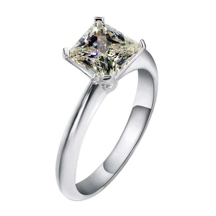 鑽戒1克拉 求婚 結婚百年經典tiff四爪鑽戒 純銀鑲嵌公主方仿真鑽戒環 戒指女款 高碳仿真鑽石真鑽鉑金質感  ZB鑽寶