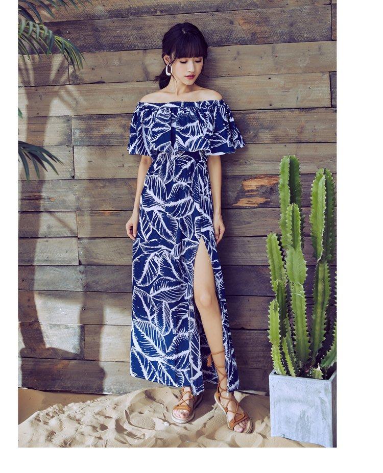 100%Boutique一字領渡假風荷葉邊沙灘洋裝