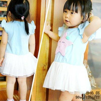 【班比納精品童裝】彈力立體條紋星星拼接紗裙洋裝/小禮服-藍【BB16052003】