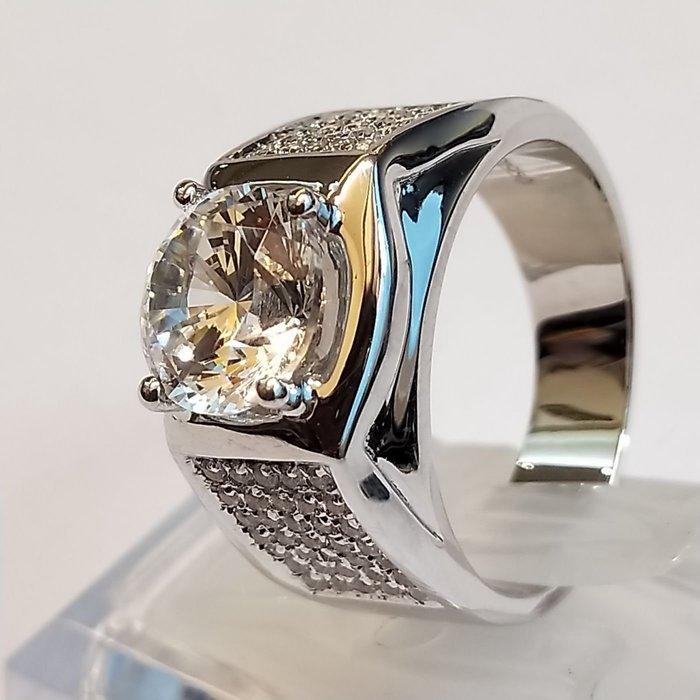 鑽戒滿鑽微鑲鑽戒925純銀鍍鉑金指環 鑲嵌高碳鑽2克拉男士戒指 精工寬版高碳仿真鑽石莫桑鑽寶特價優惠歡迎來圖訂做
