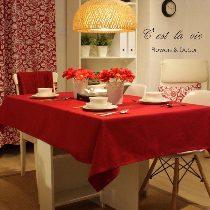 ~C #x27 est la vie~ 大紅色純棉桌布 聖誕節佈置 農曆新年佈置 簡約宜家